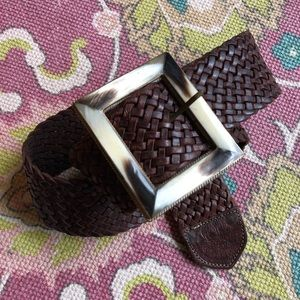 Accessories - Vintage Brass Horn Square Braided Leather Belt